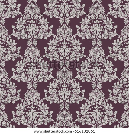 Seamless Grey And Dark Purple Floral Wallpaper Vector Background Vintage Damask Pattern Backdrop
