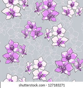 Seamless grey floral orchid pattern