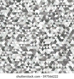 Seamless Grey and White Pattern of Symmetric Triangles for Universal Application. Grid of Monochrome Triangles. Geometric Concept.