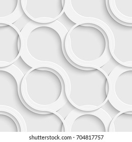 Seamless Grid Wallpaper. 3d White Curved Background. Vector Geometric Texture
