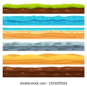 Seamless ground surface. Green grass land landscape, sandy desert and beach with sea water. Grounds layers texture for game level development, geology vector cartoon isolated set
