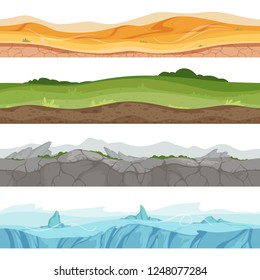Seamless grounded surface. Parallax desert sand grass water ground vector environment for 2d cartoon games
