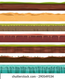 Seamless Grounds, Land And Soil For Ui Game/ Illustration of a set of seamless grounds, soils and land foreground area with ice, desert, beach, sand, roots and grass layers and patterns for ui game