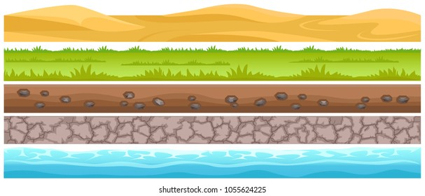 Seamless grounds and land surface types set. Sand dunes in desert, green meadow with grass, ground with stones, cracked dried soil and water flat vector on white. UI game environment design element