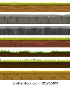 Seamless Grounds, Soil And Grass For Ui Game/ Illustration of a set of various seamless grounds, soils and land foreground area with blades of grass layers, rocks and underground patterns