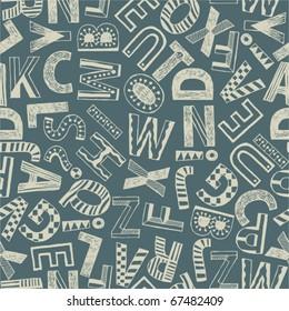 Seamless grunge background - alphabet