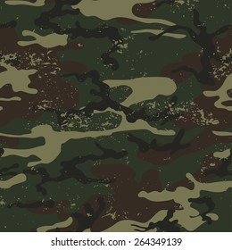 Seamless grunge camouflage pattern. Camouflage background vector.