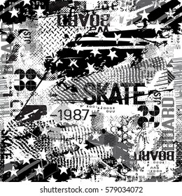 Seamless Grunge geometric pattern for girls, boys, fashion textile, sport clothes. Urban modern design with curved squares, shape, spray paint elements. Chaotic guys repeated monochrome backdrop