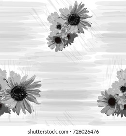 Seamless grunge striped  pattern with sunflowers in black and white colors
