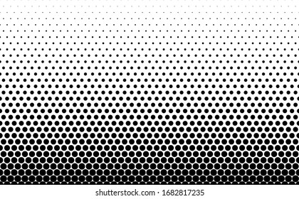 Seamless halftone vector background.Filled with black circles .Long fade out. 31 figures in height.The radial transformation method.