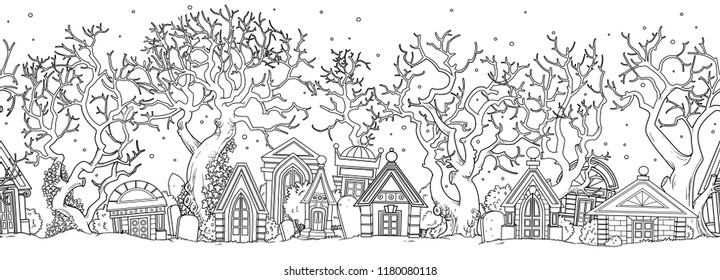 Seamless Halloween background with abandoned cemetery with old crypts and trees outlined for coloring page