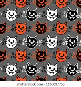 Seamless halloween background. Vector pattern with halloween vampire cats