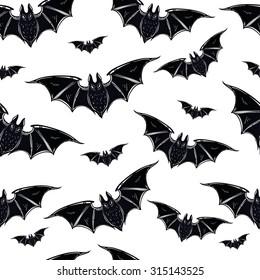 seamless halloween pattern halloween bats hand drawn holiday symbols isolated vector illustration - Halloween Pictures Bats
