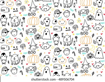 Seamless Halloween Pattern For Card Banner Poster Templates Hand Drawn Traditional Symbols