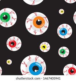 Seamless halloween pattern with creepy eyeballs