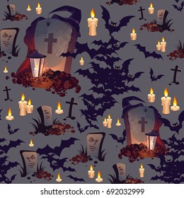 Seamless Halloween Pattern with Graves, Bats, Candles and Lanterns on dark background.