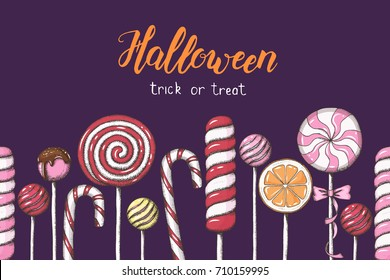 """Seamless Halloween pattern with hand drawn colored candies. Hand made lettering """"Halloween. Trick or Treat"""". Pattern can be used for wallpaper, web page background, textures."""