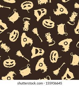 Seamless halloween pattern on brown background