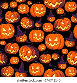 Seamless Halloween Pattern with Pumpkins on black background.