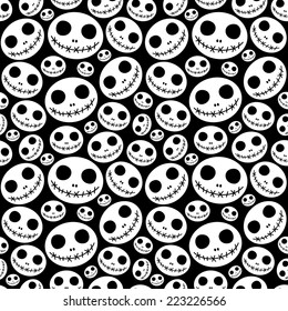 Seamless halloween pattern with skeleton faces