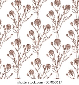 Seamless  hand draw pattern with cornflowers. Suitable for paper, wallpaper, textile. Herbal vintage background.