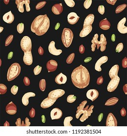 Seamless hand draw pattern with nuts. walnut, hazelnuts, peanuts, cashews, almonds, shell.