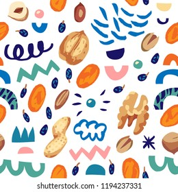 Seamless hand draw pattern with nutsdried fruits, berries, dried apricots, raisins, walnut, hazelnuts, peanuts, cashews, almonds, shell and abstract elements.