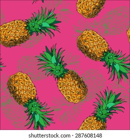 Seamless hand drawing pineapples pattern on pink background