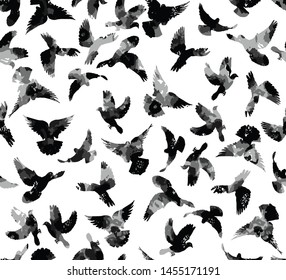 Seamless Hand Drawn Abstract Watercolor Flying Birds Pigeons Vector Pattern Isolated Background