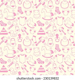 Seamless hand drawn baby pattern