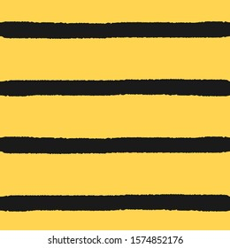Seamless of hand drawn Bee stripe pattern. Horizontal lines brush, black and yellow colors.