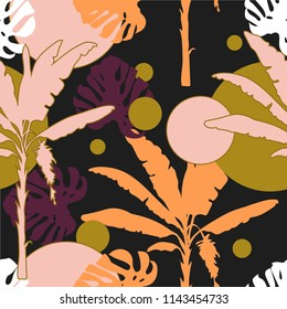 Seamless hand drawn botanical exotic vector pattern with silhouette palm trees and leaves on dark background.
