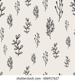 Seamless hand drawn branch pattern. Digital vector illustration for design.