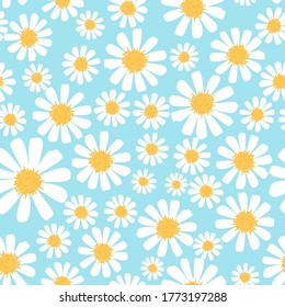 Seamless of hand drawn daisy flower on a blue background vector illustration. Cute floral pattern.