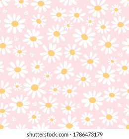 Seamless with hand drawn daisy flower and heart on pastel pink background vector. Cute floral pattern, flat design.