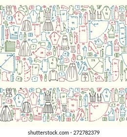 Seamless hand drawn doodle borders with clothes and sewing patterns. Good for different templates, scrapbook, package and wrapping paper, etc