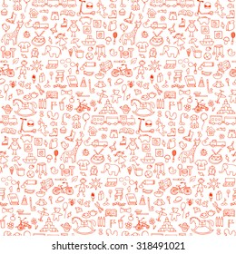 Seamless hand drawn doodle pattern with toys. Vector  illustration for backgrounds, web design, design elements, textile prints, covers, greeting cards