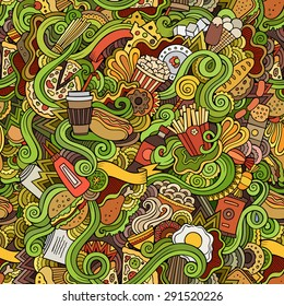 Seamless hand drawn doodles abstract fast food pattern