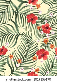 Seamless hand drawn exotic vector pattern with green palm leaves and hibiscus flower. Stock vector.