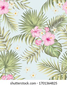 Seamless hand drawn exotic vector pattern with green palm leaves and hibiscus flower. Tropical summer illustration.