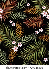 Seamless hand drawn  exotic vector pattern with green palm leaves and tropical flower. Vintage illustraion.