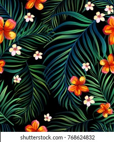 Seamless hand drawn exotic vector pattern with green palm leaves and hibiscus flower.