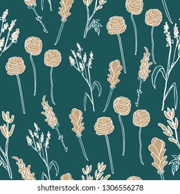 Seamless hand drawn floral pattern. Herbs and flower in casual style. Botanical illustration. Simple floral pattern. Deep green background. For cloth, fabric, wrapping paper, home decor.