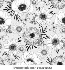 Seamless hand drawn floral pattern with flowers, leaves and butterflies. Vector illustration on light gray background in vintage style.