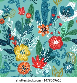 Seamless hand drawn floral pattern. Vector colorful background with different sketch flowers and leaves. Design for prints, shirts and posters.