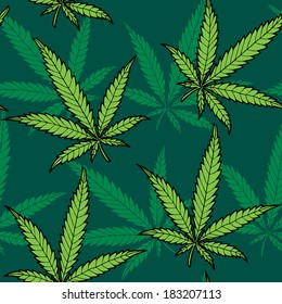 Seamless hand drawn hemp pattern. No transparency and gradients used.