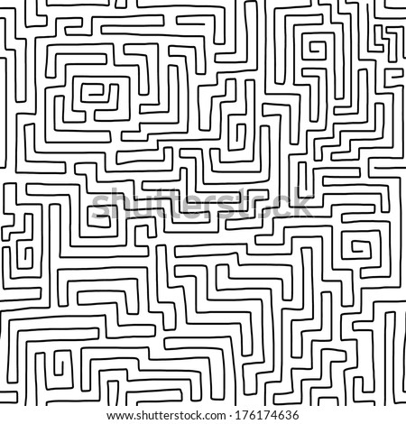Seamless Hand Drawn Labyrinth Pattern Vector Stock Vector Royalty Stunning Labyrinth Pattern