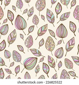 Seamless  hand drawn pastel colorful leaf pattern with ornament.Texture with leaves in pastel backdrop