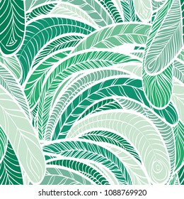 Seamless hand drawn pattern with boho colorful green feathers, vector illustration