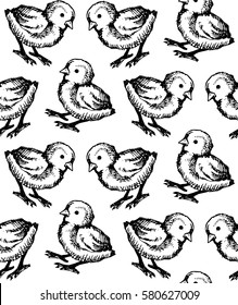Seamless hand drawn pattern with chiken farm. Background with doodle chiken for wallpapers, textile, paper.